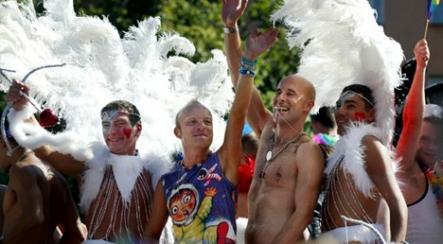 Parading around town<br>Feathers and bare chests are a common sight at the annual Pride parade in the Swedish capital.Photo: Jessica Gow/Scanpix