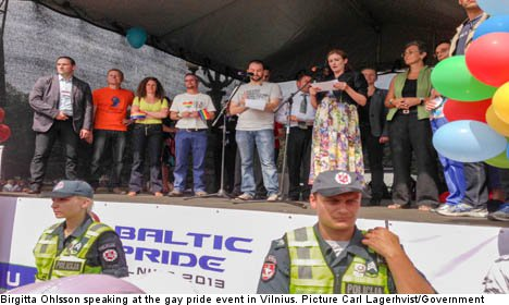 Gay haters pelt eggs at Swedish minister