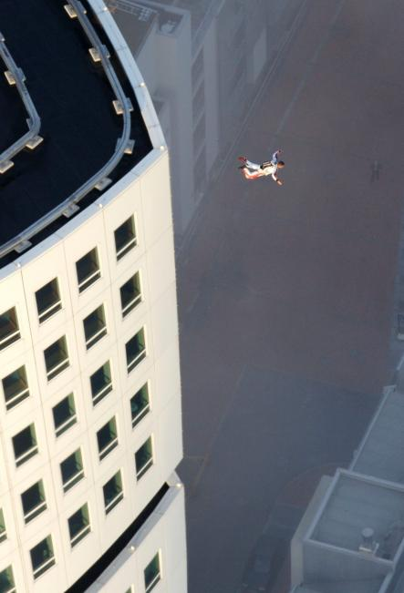 Daredevils also enjoy the view from the top, here we see extreme sportsman Felix Baumgartner illegally jumping from the building before he parachuted to safety and escaped authorities by taking a boat to Denmark.Photo: Scanpix Sweden
