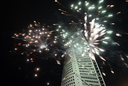 And lastly...<br>Some New Year's fireworks at the Torso, here in 2013.Photo: Johan Nilsson/Scanpix