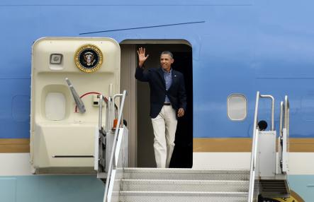 Farewell<br>Then, on Thursday, the president will jump back into Air Force One and head off from Sweden's Arlanda airportPhoto: AP