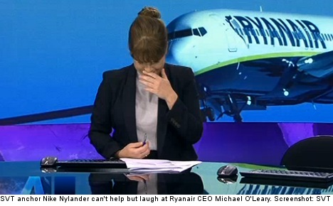 VIDEO: Swedish anchor in fits over Ryanair ghost