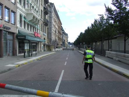 One of the many streets closed for the Presidents´arrival in Stockholm today.Photo: The Local