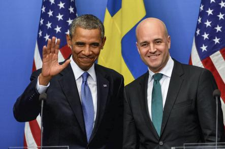 """On his visit to Sweden:<br>""""To the people of Sweden, thank you. This is a wonderful visit, and I'm looking forward to it producing concrete results that will enhance the lives of both the American people and the people of Sweden.""""Photo: Jonas Ekströmer/Scanpix (Obama at Stockholm's Government Offices)"""