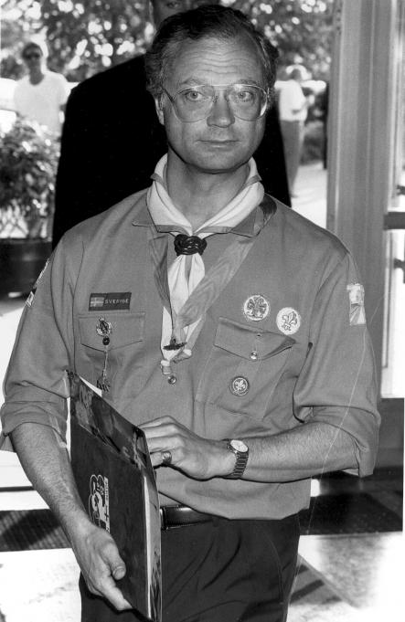 """The king dressed in his """"scouting"""" outfit in 1992. The king has a passion for the scouts, often participating in scouting activities both in Sweden and abroad. He is in fact the honorary chairman of the World Scout Foundation.Photo: Scanpix"""