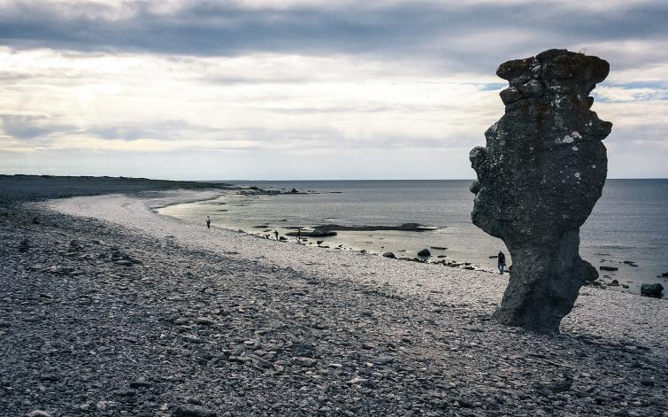 """Biking around Gotland<br><i>Raukar</i> are created from eroding limestone. The word 'rauk' is from the local language """"gutniska"""", not identical with the local <i>gotländska</i> dialect.Photo: Joel Linde"""