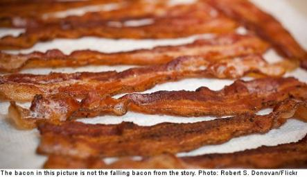 """<font size=""""5"""">Man injured by falling bacon</font><br>In one of the weirdest stories of the week, a man was sent to the hospital after being crushed by 600 kilogrammes of bacon. <br> <a href=""""http://www.thelocal.se/50584/20131003/"""" target=""""_blank""""> Read about the unusual incident here.</a>"""