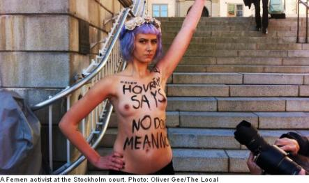 """<font size=""""5"""">Activists protest gang-rape acquittal</font><br>Speaking of winter, this week was especially chilly for topless activists who bared all outside the Stockholm appeals court. <br> <a href=""""http://www.thelocal.se/50538/20131001/"""" target=""""_blank""""> Find out why they were protesting.</a>"""