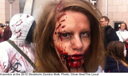 """<font size=""""5"""">Zombie walk hits central Stockholm</font><br>Finally, on the topic of Halloween, zombies filled the streets of Stockholm last weekend. Miss the invasion? <br> <a href=""""http://www.thelocal.se/50500/"""" target=""""_blank"""">See pictures of the gory highlights here.</a>"""