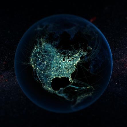 A data visualisation image showing the inter-connectedness of our globalized world. Photo: Félix Pharand-Deschênes
