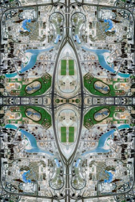This image is created from thousands and thousands of thumbnails extracted as screen grabs from Google Maps, which are then reconstructed piece by piece using Photoshop.Photo: David Thomas Smith