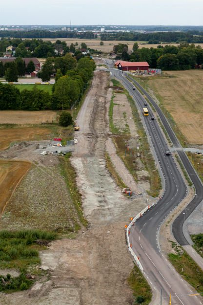 The excavation area and post-holes seen by airPhoto: Flygfoto