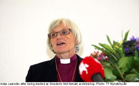 """<font size=""""5"""">Sweden elects first female archbishop</font><br>Finally, Bishop Antje Jackelén became the first ever female archbishop of the Church of Sweden- <br> <a href=""""http://www.thelocal.se/50814/20131015/"""" target=""""_blank""""> despite some controversial views about God and evolution.</a>"""