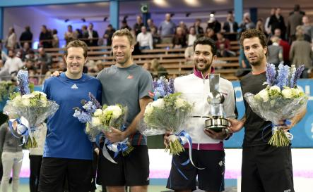 Winners of the double-final at the ATP Stockholm Open: Aisam-Ul-Haq Qureshi, Jean-Julien Rojer, on right. Swedes Jonas Björman and Robert Lindstedt performed well but didn't take the prize.Photo: Pontus Lundahl/TT