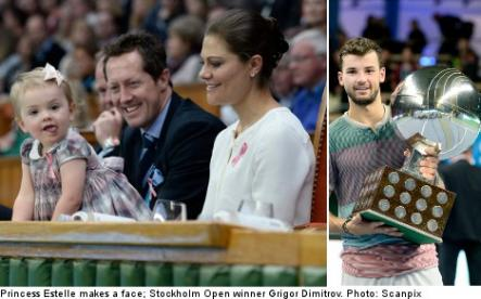 """<font size=""""5"""">Dimitrov and Princess Estelle wow Stockholm Open crowd</font><br>And finally, without a doubt the cutest pictures of the week - Sweden's tiniest tennis fan Princess Estelle cheers on Stockholm Tennis Open winner Dimitrov. <br> <a href=""""http://www.thelocal.se/50914/20131021/"""" target=""""_blank""""> See shots from the match and little Estelle here.</a>"""