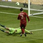 """And what do you think happened? Christiano Ronaldo, who had incidentally just """"hurt"""" his foot and shed a tear or two, charged out of nowhere and scored a third, chipping it over the outstretched hands of Sweden's goalkeeper Andreas Isaksson. 3-2 Portugal.Photo: TT"""