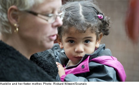Toddler Haddile meets birth parents in Sweden