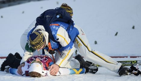 Crash sees Swedes win sprint silver and bronze