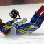 """...Anja Pärson, with her trademark belly-flop victory celebration (dubbed """"the seal""""), won the hearts of alpine ski fans in Sweden and around the globe. Her tally of six medals (including a gold in Turin in 2006), puts her among the most decorated Swedish Olympians ever. Perhaps most memorable, however, was her bronze in Vancouver in 2010, won following a spectacular crash that many feared would end her career.Photo: Janerik Henriksson/TT"""