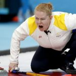 Sweden's Margaretha Sigfridsson shouts instructions to her teammates during the women's curling competition against the United StatesPhoto: AP