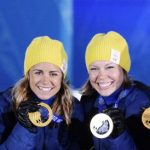 Sweden's Cross-Country Skiing 4x5km Relay gold medalists Charlotte Kalla, Anna Haag, Emma Wikén and Ida Ingemarsdotter pose during the medal ceremony. They took home Sweden's first gold medal of the games.Photo:  Tobias Röstlund / TT