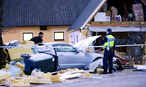 Pictures: Car rips wall off southern Sweden home