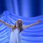 San Marino are the rank outsiders with Valentina Monetta reaching for the sky with the song 'Maybe.' Photo: Janerik Henriksson / TT