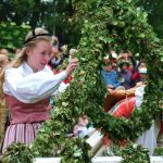 The Maypole must be decorated before it is raised. Photo: The Local/Solveig Rundquist