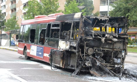 Stockholm bus spontaneously combusts