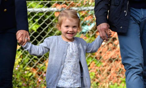 Princess Estelle on her first day at pre-school.Photo: Anders Wiklund/TT