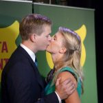Gustav Fridolin, the co-spokesperson of the Green Party, had less to smile about on election night. His party was overtaken by the Sweden Democrats as the third most popular in Sweden. Here, he celebrates with his wife regardless. Photo: TT
