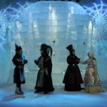 Initially, guests didn't sleep inside the igloo, they just visited to see the art inside it. It wasn't until some visitors asked if they could spend the night there that the idea of Icehotel was born. Photo: Photographer unknown/Icehotel (Shakespeare's Hamlet performed in Sapmi in the Globe Theatre, 2003)