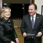 Former Secretary of State Hillary Rodham Clinton meets with Swedish Prime Minister Stefan Löfven at the Clinton Foundation in New York. Photo: AP Photo/Pontus Höök, Pool