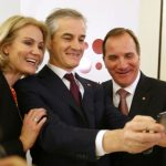 Danish Prime Minister Helle Thorning-Schmidt, leader of the Norwegian labour party Jonas Gahr Støre and Löfven pose for a selfie at a conference in Oslo. Photo: Lise Åserud / NTB scanpix / TT