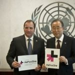 Löfven and U.N. Secretary General Ban Ki-moon hold signs for the 'He For She' solidarity movement, before a meeting in New York in November 2014.Photo: AP Photo/Bebeto Matthews