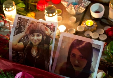 Photos of Tugce at a vigil held in her honour. Photo: DPA