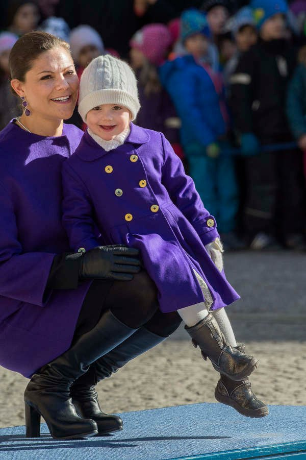 Princess Estelle joins her mother Crown Princess Victoria, as the older royal celebrates her name day in Stockholm.Photo: TT