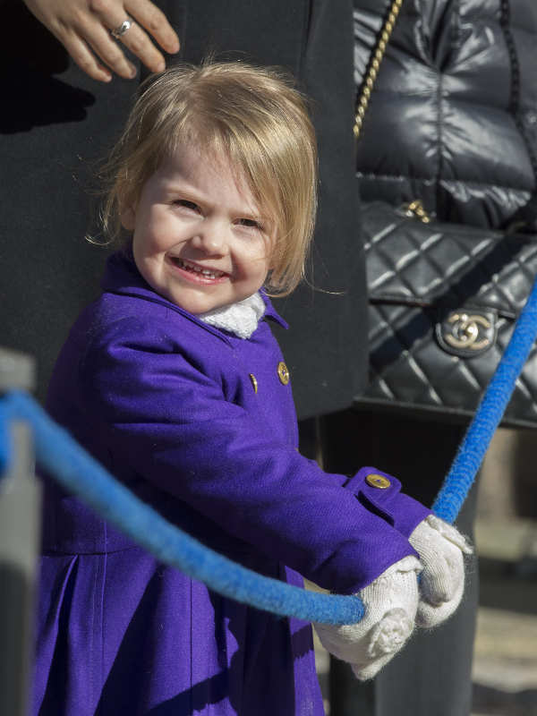 The young princess is all smiles as she steps out into the spring sunshine.Photo: TT
