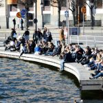 Stockholmers soaking up the sun at Slussen as temperatures hit 15C in the city on March 8th.Photo: Fredrik Sandberg/TT
