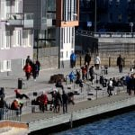 Stockholmers enjoying the sun at Sickla Udde on the hottest day of the year so far, March 8th.Photo: Hasse Holmberg/TT