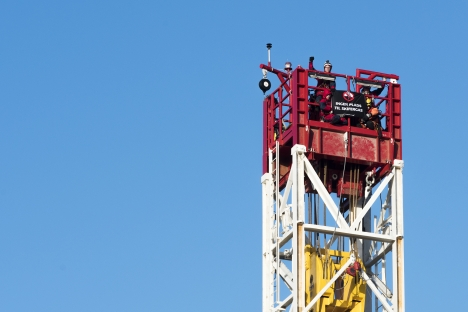Some of the Greenpeace activists scaled the derrick at the Total exploration site. Photo: Greenpeace