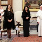 Chris O'Neill, Princess Leonore, Princess Madeleine, Queen Silvia and Pope Francis pose for photographers on April 27th, 2015.Photo: Max Rossi/Pool photo via AP
