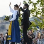 The future husband and wife celebrate Sweden's National Day a week before their wedding.Photo: TT