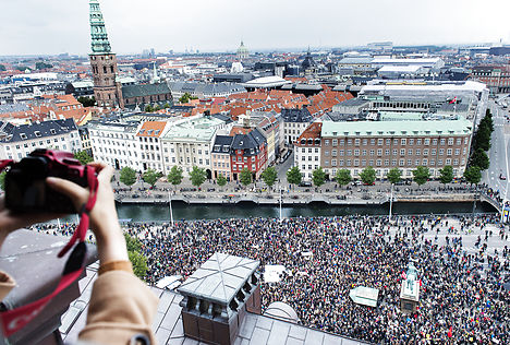 The 'Welcome to Denmark' rally seen from above. Photo: Claus Bech/Scanpix