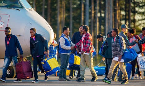 Relocated refugees land in northern Sweden