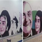 Hijab mural painted over with hair at Swedish mall