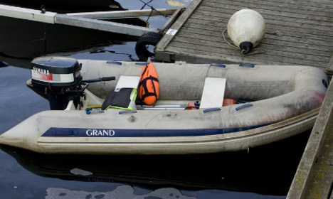 Refugees reach Sweden in an inflatable boat