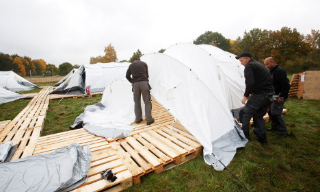 Refugees spend night at this tent camp in Sweden
