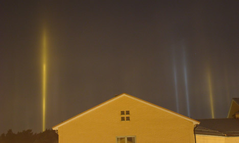 Stockholm surprised by mysterious light pillars