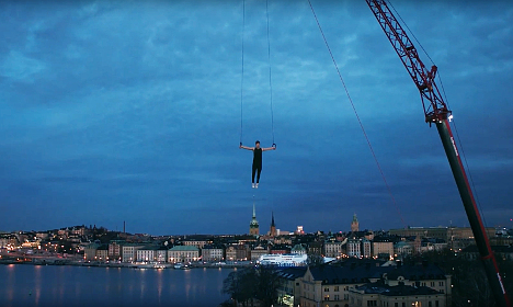 How Stockholm looks when you're dangling at 50 metres